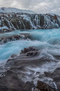 1242x2688 Waterfall Winter Frozen Rock 8k