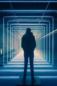 Wavelength Neon Person Standing 8k