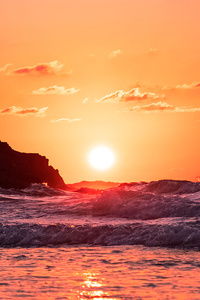 1125x2436 Waves Ocean Sunset 4k