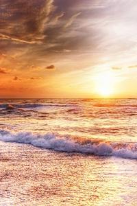 750x1334 Waves Sand Blue Sky Evening Landscape