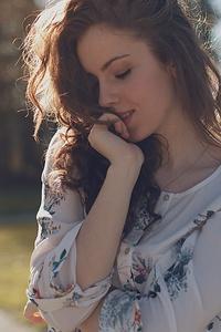 Wavy Hair Girl Outdoors In Depth Of Field