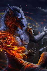 480x854 Werewolf Vs Man Flame Night Skull