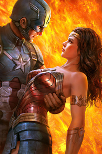 1125x2436 When Wonder Woman Met Captain America 4k