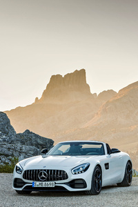 640x1136 White And Silver Mercedes Benz AMG GT