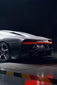 640x960 White Bugatti Chiron Super Sport Rear Side View 5k