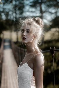 640x1136 White Dress Girl On Bridge Pass 4k