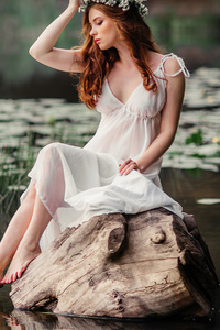 640x1136 White Dress Girl Pond Side