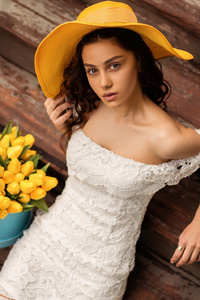 320x480 White Dress Girl With Tulips Flowers
