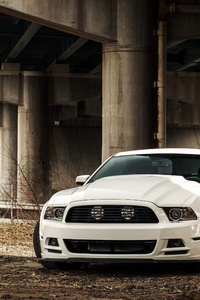 720x1280 White Ford Mustang