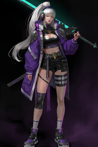 640x960 White Hair Asian With Sword