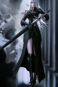 1125x2436 White Hair Black Dress Warrior