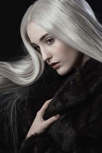 320x480 White Hair Girl Black Coat 4k