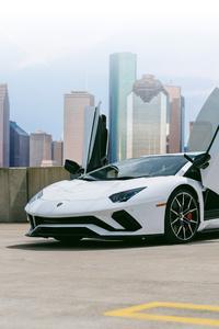 White Lamborghini Aventador 5k 2018