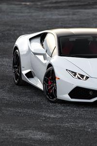 1080x1920 White Lamborghini Huracan 5k 2019