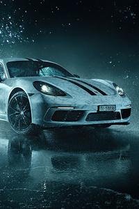 480x800 White Porsche Cayman 4k