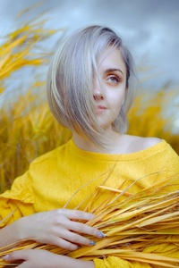 240x400 White Short Hair Girl