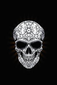 1080x2280 White Skull Dark 4k