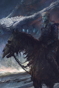 1242x2688 White Walker And Dragon