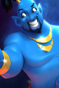 1440x2960 Will Smith As Genie Cartoon Art