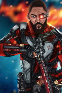 1080x2280 Will Smith Deadshot Artwork 4k