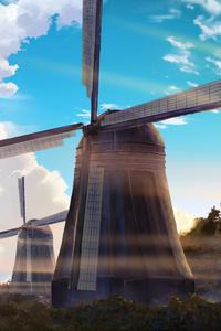 640x960 Windmill Anime Scenery 4k