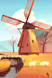 Windmill Art 4k