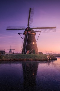 Windmill Building Sunrise Field Reflections
