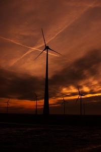 Windmill Sunset Evening Shadow 5k