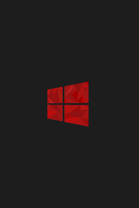 480x800 Windows 10 Red Minimal Simple Logo 8k