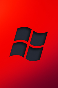 320x480 Windows Red Logo Minimal 4k
