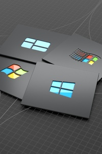 640x1136 Windows Versions Dark Minimal 4k