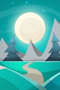 Winter Landsacape Snow Moon Minimalism Trees 4k