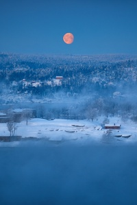 Winter Outdoors Red Moon