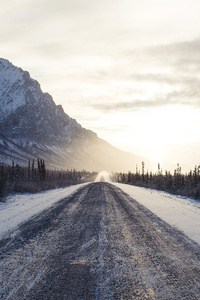 Winter Road Mountains 4k