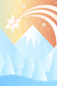 360x640 Winter Snow Christmas Mountains Minimalism