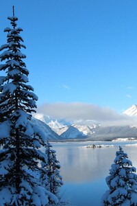 720x1280 Winter Snow Lake Mountain