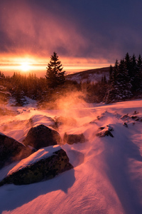 Winter Snow Sunset