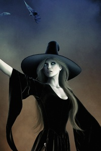 240x320 Witch With Hat Black Dress Fantasy Art