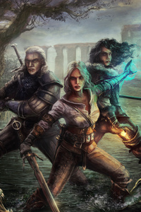 240x320 Witcher 3 Wild Hunt Geralt Yen And Ciri