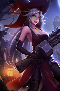 1242x2688 Witcher Girl Fun 4k