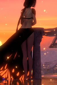 1242x2688 Wlop Anime Girl Sunset 4k