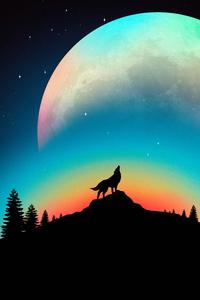 1242x2688 Wolf Howling Minimal 4k