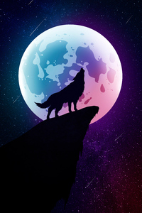 720x1280 Wolf Howling Moon Night Minimal 5k