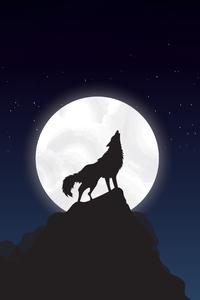 540x960 Wolf Howling Night Illustration