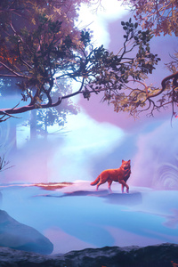 480x800 Wolf In Red Magical Woods 4k