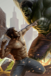 1125x2436 Wolverine And Hulk Art