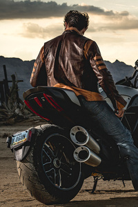 1440x2560 Wolverine On Motorcyle