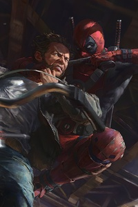 320x480 Wolverine Vs Deadpool On Bike Fight