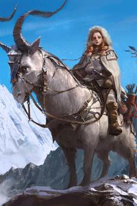 Woman Warrior Sitting On Creature Fantasy Artwork