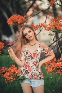 1440x2560 Woman Wearing Floreal Dress
